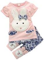 TRURENDI Baby Kids Girls Boys Toddlers Cute Rabbit Top+short Pants 2pc Suit Set Clothes (S, )