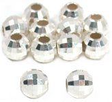 Generic 12 Mirror Beads Silver Faceted Beading Stringing 8mm