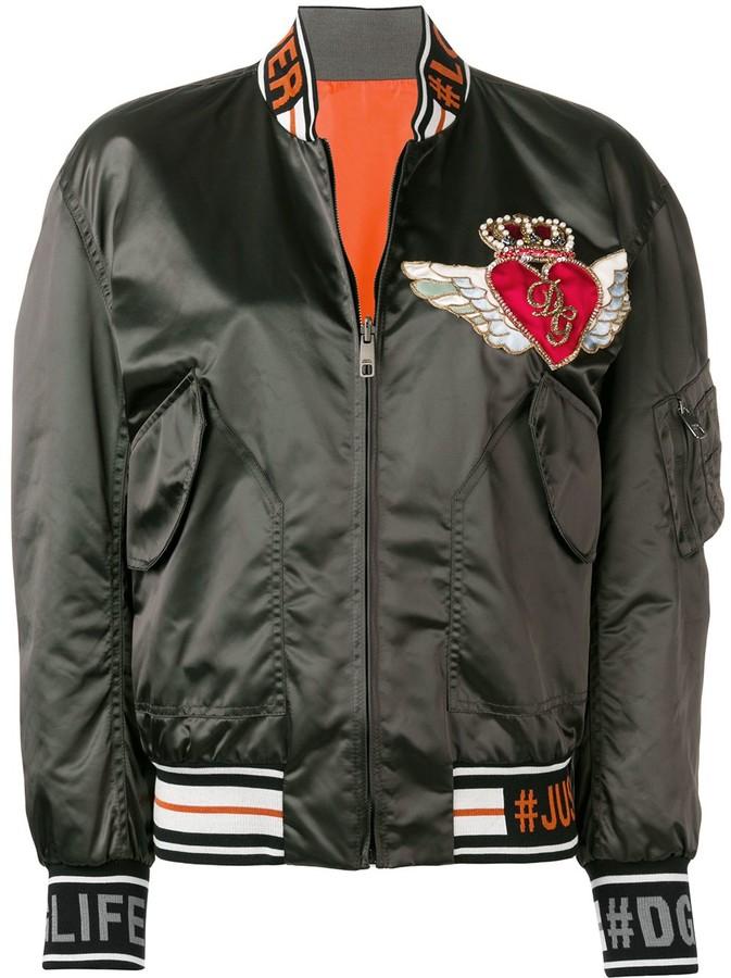 97210105e4 appliquéd satin bomber jacket