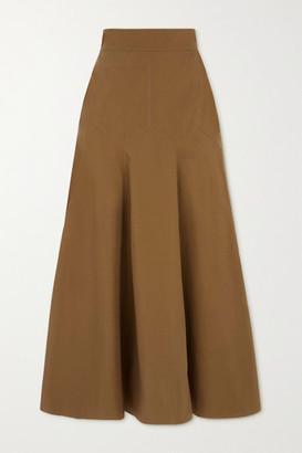 Three Graces London Aria Cotton-poplin Midi Skirt - Tan