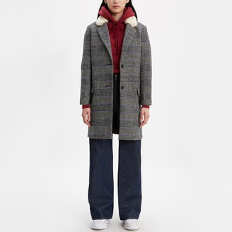 Levi's Long Wool Mix Coat with Borg Collar and Single-Breasted Buttons
