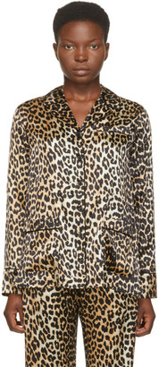 Ganni Black and Brown Silk Leopard Shirt