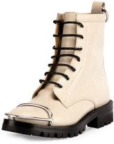 Alexander Wang Lyndon Box Calf Combat Boot, Bone