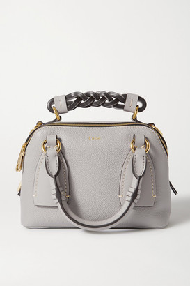 Chloé Daria Small Smooth And Textured-leather Tote - Gray