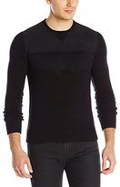 Kenneth Cole New York Kenneth Cole Men's Suede Trim Crew Sweater