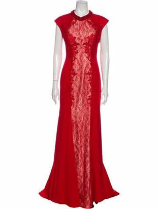 Mac Duggal Crew Neck Long Dress Red