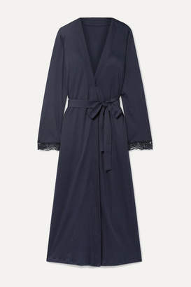 Hanro Flora Belted Lace-trimmed Mercerized Cotton-jersey Robe - Midnight blue