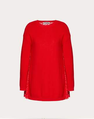 Valentino Wool And Heavy Lace Pleated Jumper Women Red XL