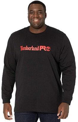 Timberland Extended Base Plate Long Sleeve Graphic T-Shirt (Black/Red) Men's Clothing