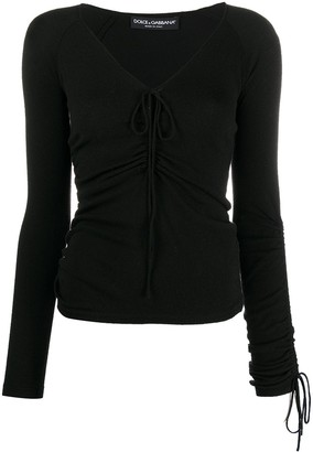 Dolce & Gabbana Pre Owned 1990s Drawstring Stretch Blouse