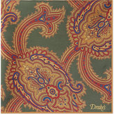 Drakes Ornate Paisley Silk Pocket Square