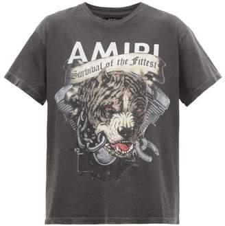 Amiri Pitbull-print Washed-cotton T-shirt - Mens - Black