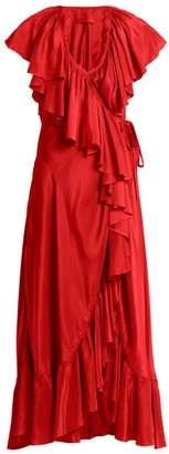 Loup Charmant Callela Ruffled Silk Wrap Dress - Womens - Red