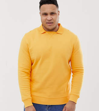 Asos Design DESIGN Plus sweatshirt with polo collar in yellow