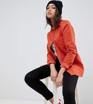 Asos Tall DESIGN Tall denim shacket in terracotta-Orange
