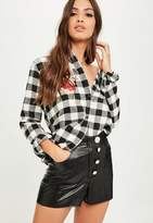 Missguided Black Faux Leather Button Up Shorts, Black