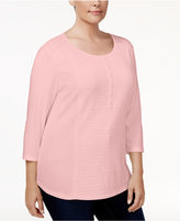 Karen Scott Plus Size Cotton Lace-Front Henley Top, Created for Macy's
