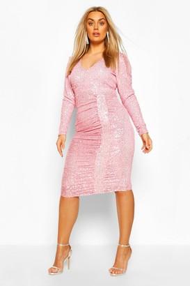 boohoo Plus Sequin Puff Sleeve Wrap Dress