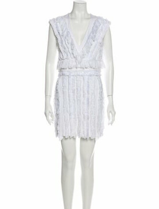 Balmain V-Neck Mini Dress White