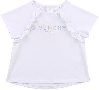 Givenchy Girl's Foiled Logo Ruffle Cotton T-Shirt, Size 12M-3