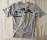 Madda Fella Short Sleeve Excursions - Live Life Print Shark Gray