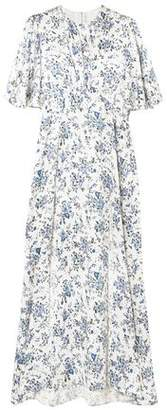 Les Rêveries Ruched Floral-print Silk-satin Maxi Dress