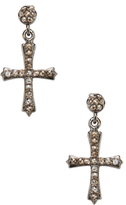 Sterling Silver & 0.72 Total Ct. Champagne Diamond Cross Earrings
