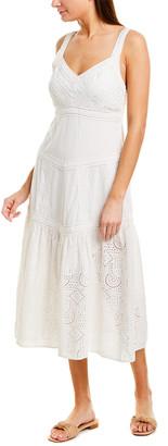 Sea Ruffle Eyelet Midi Dress