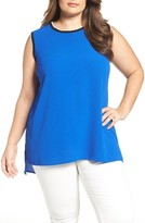 Vince Camuto Plus Size Women's Ribbed Trim High/low Top