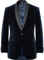 Richard James Blue Hyde Slim-fit Satin-trimmed Cotton-velvet Tuxedo Jacket - Midnight blue