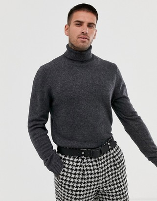 Asos DESIGN lambswool roll neck sweater in charcoal