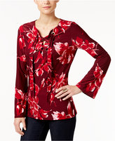 INC International Concepts Petite Printed Lace-Up Top, Only at Macy's