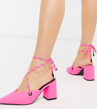 Asos DESIGN Wide Fit Seeker tie leg mid-heels in neon pink