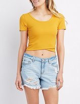 Charlotte Russe Ribbed Wrap-Front Crop Top