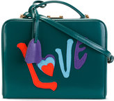 Mark Cross LOVE appliqué shoulder bag - women - Cotton/Leather/Straw - One Size