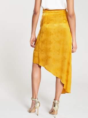 River Island Jacquard Skirt With Tassles - Ochre