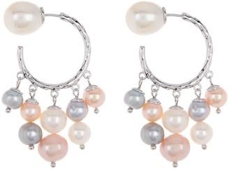 Carolee Jane Sterling Silver Multi-Color Freshwater Pearl Dangle Hoop Earrings