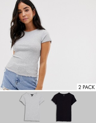 New Look crop rib t-shirt 2 pack in black and gray-Multi