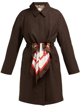 Burberry Society Scarf Tie Waist Single Breasted Wool Coat - Womens - Brown Multi
