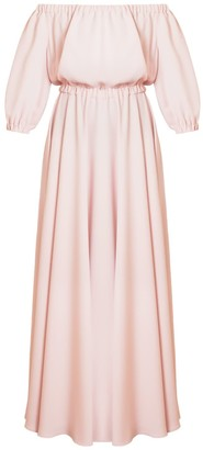 Gala Pastel Pink Off Shoulder Maxi Evening Dress
