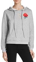 Honey Punch Distressed Embroidered Hoodie Sweatshirt