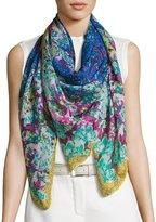 Etro Floral Cashmere & Silk Square Scarf, Blue