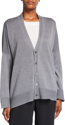 eskandar Long-Back Silk/Cashmere Cardigan