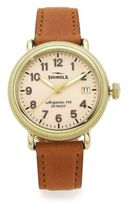 Shinola Runwell Coin Edge Goldtone Stainless Steel & Leather Strap Watch