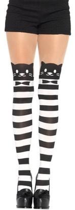 Leg Avenue Women's Fancy Cat Pantyhose, Black/White, One Size
