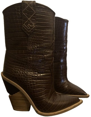 Fendi Cowboy Brown Leather Boots