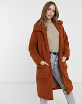 Thumbnail for your product : Brave Soul heavenly long coat in borg