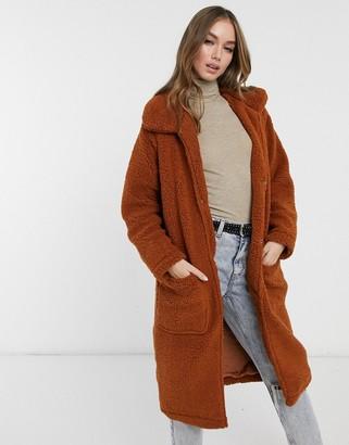 Brave Soul heavenly long coat in borg