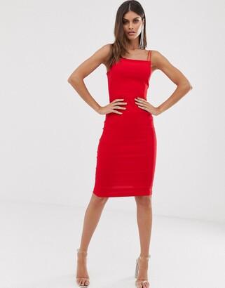 Vesper square neck midi dress with double straps in red