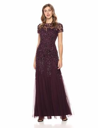 Adrianna Papell Women's Short Sleeve Beaded Floral Dress